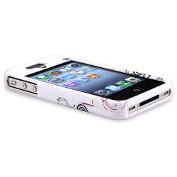 INSTEN White Autumn Flower Phone Case Cover/ Pink Headset Dust Cap for Apple iPhone 4/ 4S