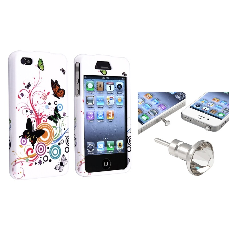 INSTEN White Autumn Flower Phone Case Cover/ Headset Dust Cap for Apple iPhone 4/ 4S