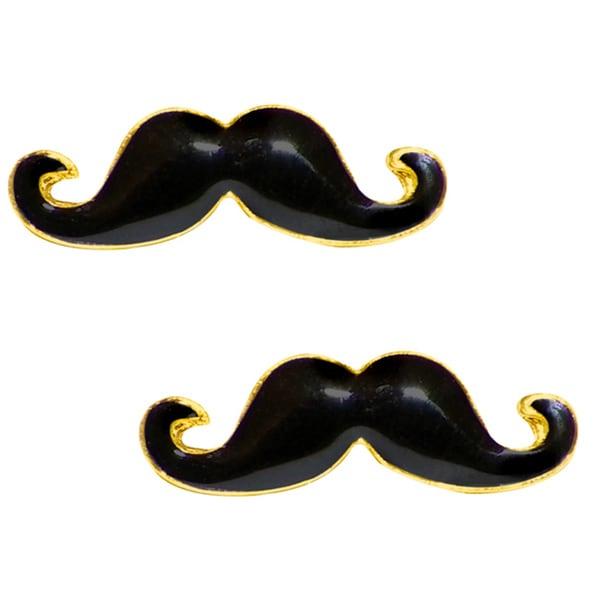 Gold-plated High-polish Black Enamel over Brass Mustache Stud Earrings