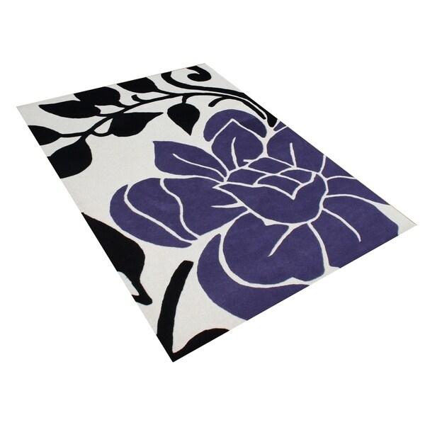 Alliyah Handmade Vanilla New Zealand Blend Wool Rug - 8' x10'