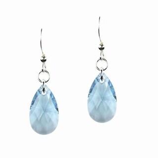 Jewelry by Dawn Sterling Silver Teardrop Aquamarine Crystal Pear Earrings