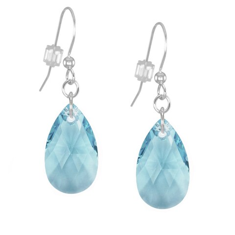 Handmade Jewelry by Dawn Sterling Silver Teardrop Aquamarine Crystal Pear Earrings (USA)