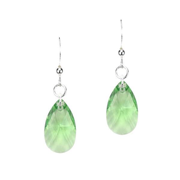 Jewelry by Dawn Sterling Silver Teardrop Green Crystal Pear Earrings