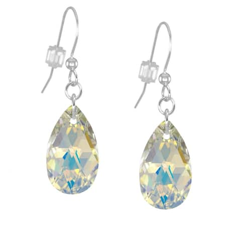 Handmade Jewelry by Dawn Crystal Aurora Borealis Long or Short Teardrop Sterling Silver Pear Earrings (USA)