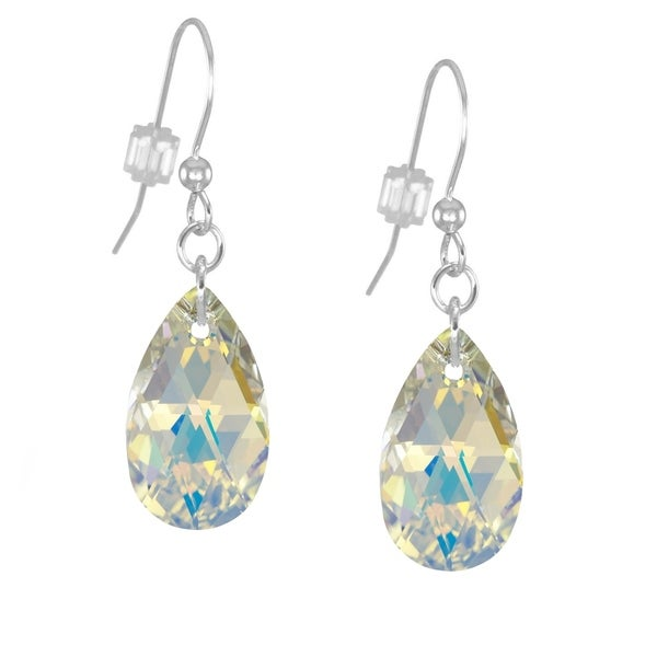 """2.25/"""" GREEN RED MIDNIGHT BLUE OR HOT PINK TEAR DROP FACETED CRYSTAL EARRINGS"""