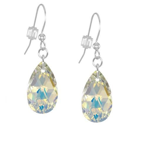 Handmade Jewelry by Dawn Crystal Aurora Borealis Long or Short Teardrop Sterling Silver Pear Earrings (USA)