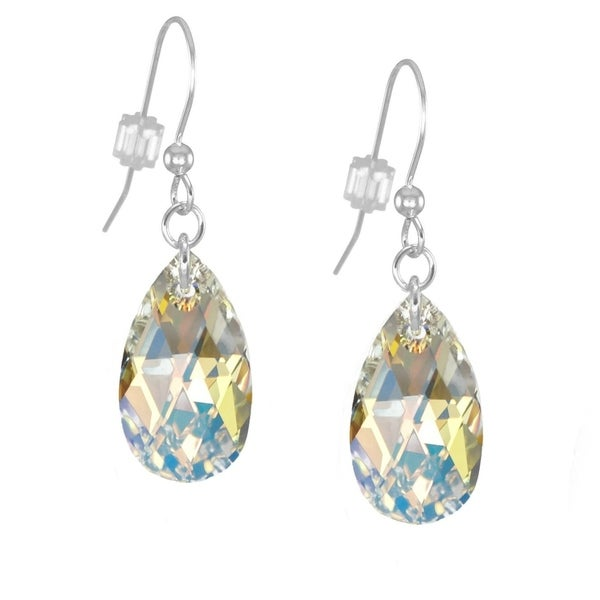 de6028390 Handmade Jewelry by Dawn Sterling Silver Crystal Aurora Borealis Pear  Earrings (USA)