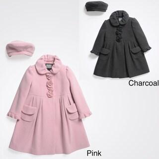 Rothschild Girls' Wool Dress Coat with Matching Beret (Size 2T-6X)