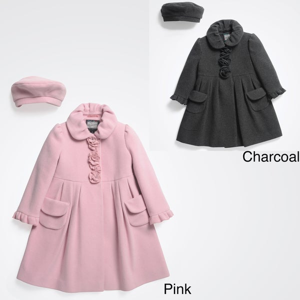 Rothschild Girls&39 Wool Dress Coat with Matching Beret (Size 2T-6X