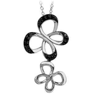 Sterling Silver 1/4CTtw Bridal Symphony Black and White Diamond Butterfly Necklace (Black, I-J, I2-I3)