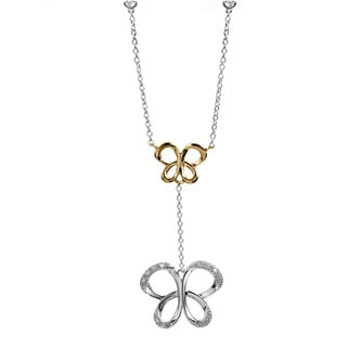 Bridal Symphony Sterling Silver with 10k Yellow Gold 1/10ct Diamond Accent Butterfly Station Necklace (I-J, I2-I3)