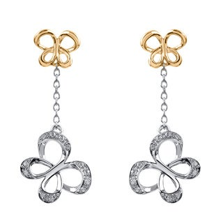 Sterling Silver with 10k Yellow Gold Chain Butterfly 1/10CTtw Diamond Accent Earring