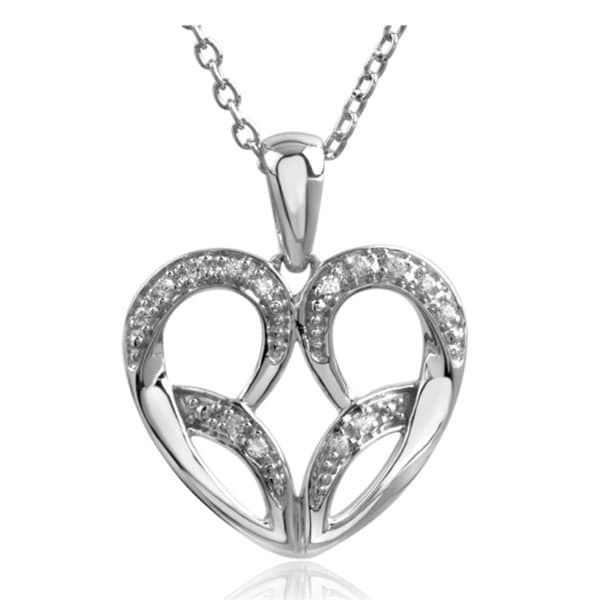 Bridal Symphony Sterling Silver Diamond Accent Open Design Heart Necklace