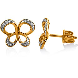 Bridal Symphony 10k Yellow Gold Diamond Accent Butterfly Stud Earrings