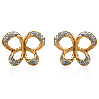 Bridal Symphony 10k Yellow Gold Diamond Accent Butterfly Stud Earring