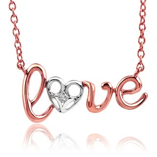 10k Rose and White Gold Diamond Accent 'LOVE' Necklace