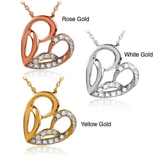 Bridal Symphony 10k Gold Diamond Accent Heart Necklace