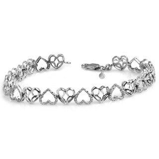 Bridal Symphony Sterling Silver Diamond Heart Design Bracelet