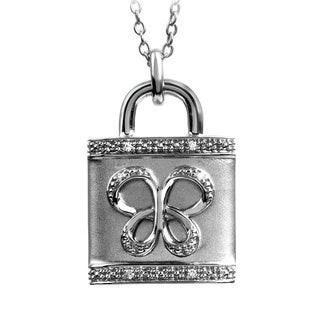 Bridal Symphony Sterling Silver Diamond Accent Butterfly Padlock Necklace