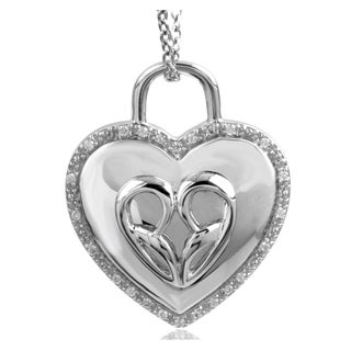 Bridal Symphony Sterling Silver .10CTtw Diamond Accent Heart Padlock Necklace