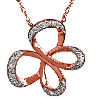 Bridal Symphony 10k Rose Gold Butterfly .11CTtw Diamond Accent Necklace