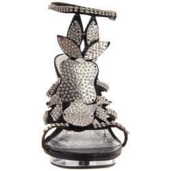 Celeste Women's 'Joyce-08' Black Rhinestone Shield Heel