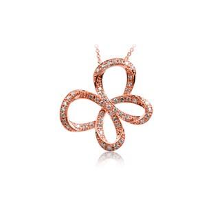 Bridal Symphony 10k Rose Gold 1/2ct TDW Pave Diamond Butterfly Necklace