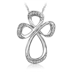 Bridal Symphony 10k White Gold 1/10ct TDW Diamond Open Cross Necklace