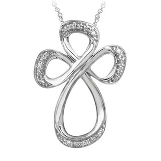 Bridal Symphony 10k White Gold Open Cross Diamond Accent Necklace (I-J, I2-I3)