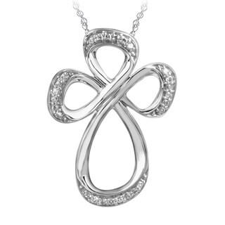 Bridal Symphony 10k White Gold Open Cross Diamond Accent Necklace
