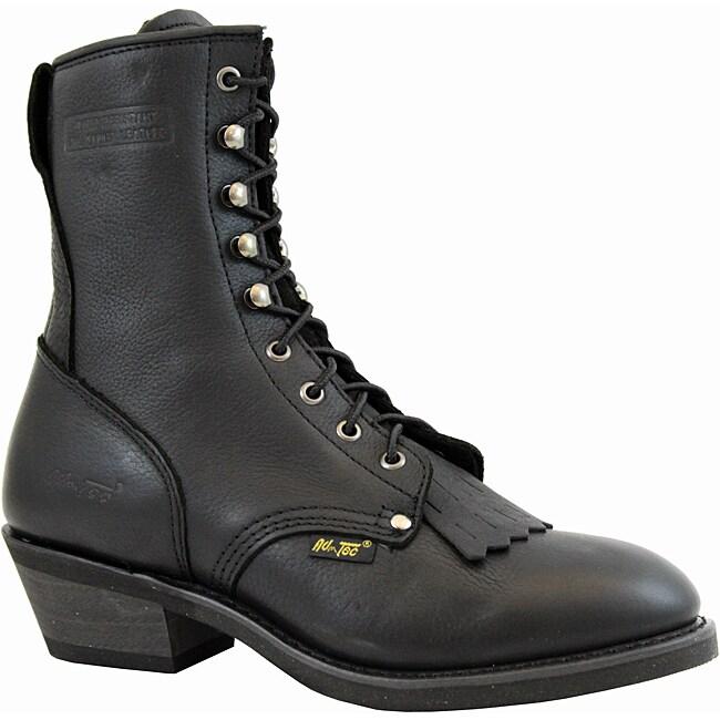 AdTec by Beston Men's Black Leather Packer Boots- Wide