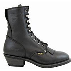 AdTec by Beston Men's Black Leather Packer Boots- Wide - Thumbnail 1