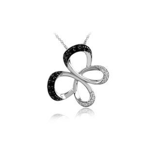 Bridal Symphony 10k White Gold 1/4ct TDW Black and White Diamond Butterfly Necklace