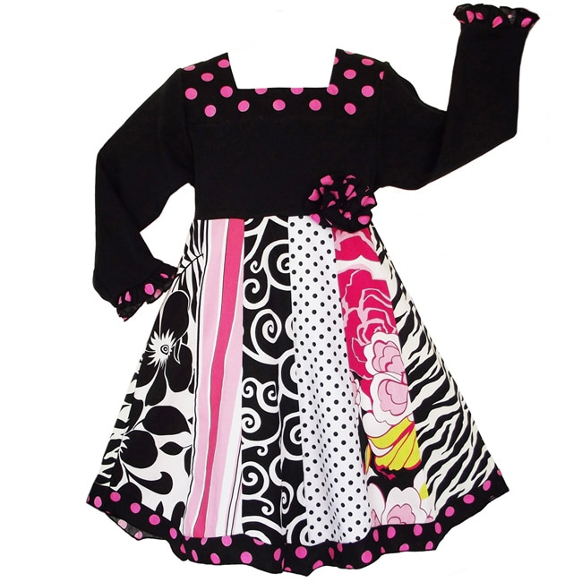 AnnLoren Girls' Floral Zebra Dots Panel Party Dress - Thumbnail 0