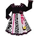 AnnLoren Girls' Floral Zebra Dots Panel Party Dress