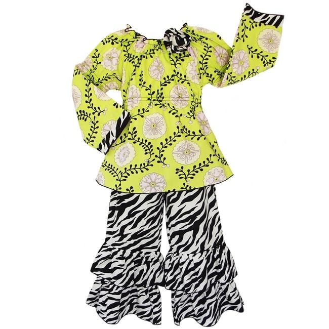 AnnLoren Girls' 2-piece Floral Vine/ Zebra Outfit