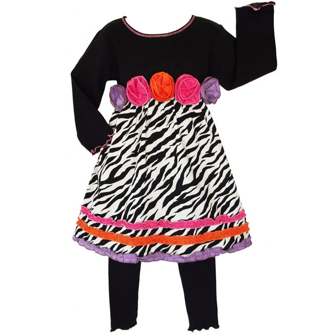 AnnLoren Girls' 2-piece Zebra/ Rose Dress/ Legging Outfit