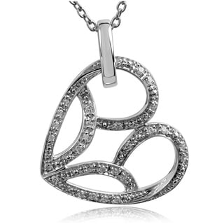 Bridal Symphony Sterling Silver Diamond Accent Tilted Sideways Heart Necklace (I-J, I2-I3)