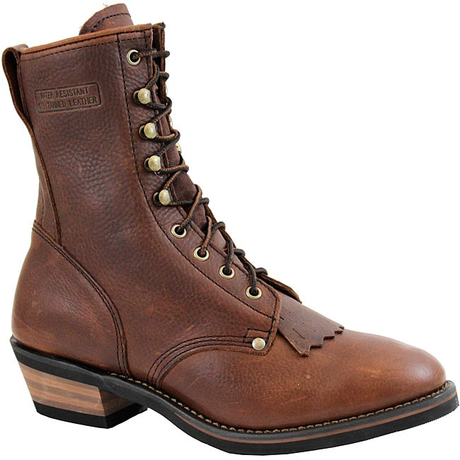 AdTec by Beston Men's Wide Chestnut Leather Packer Boots