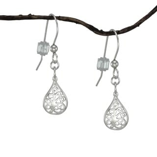 Handmade Jewelry by Dawn Small Filigree Teardrop Sterling Silver Earrings (USA)