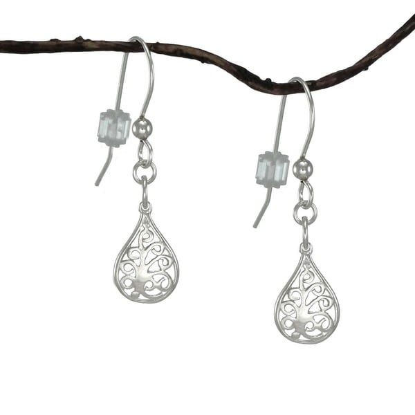 Handmade Jewelry by Dawn Small Filigree Teardrop Sterling Silver Earrings