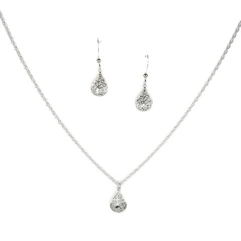 Handmade Jewelry by Dawn Small Filigree Teardrop Sterling Silver Necklace and Earring Set (USA)