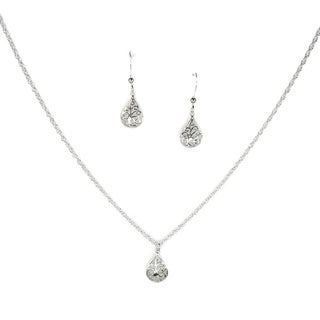 Handmade Jewelry by Dawn Small Filigree Teardrop Sterling Silver Necklace and Earring Set