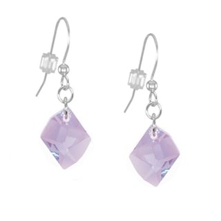 Handmade Jewelry by Dawn Small Violet Cosmic Swarovski Crystal Long or Short Sterling Silver Earrings (USA)