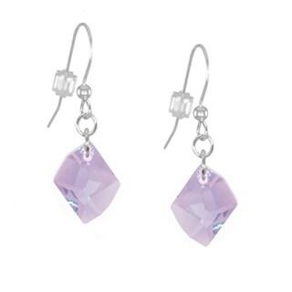 Handmade Jewelry by Dawn Violet Cosmic Swarovski Crystal Sterling Silver Earrings (USA)