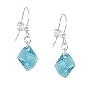 Handmade Jewelry by Dawn Small Aquamarine Cosmic Swarovski Crystal Long or Short Sterling Silver Earrings (USA)