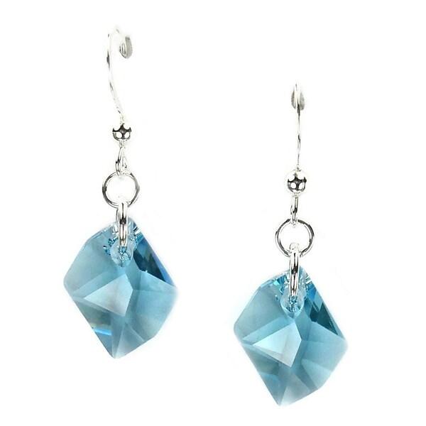 Jewelry by Dawn Small Aquamarine Cosmic Swarovski Crystal Sterling Silver Earrings