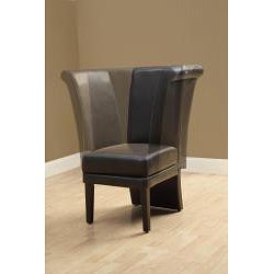 Dark Brown Faux Leather Swivel Chair - Thumbnail 1