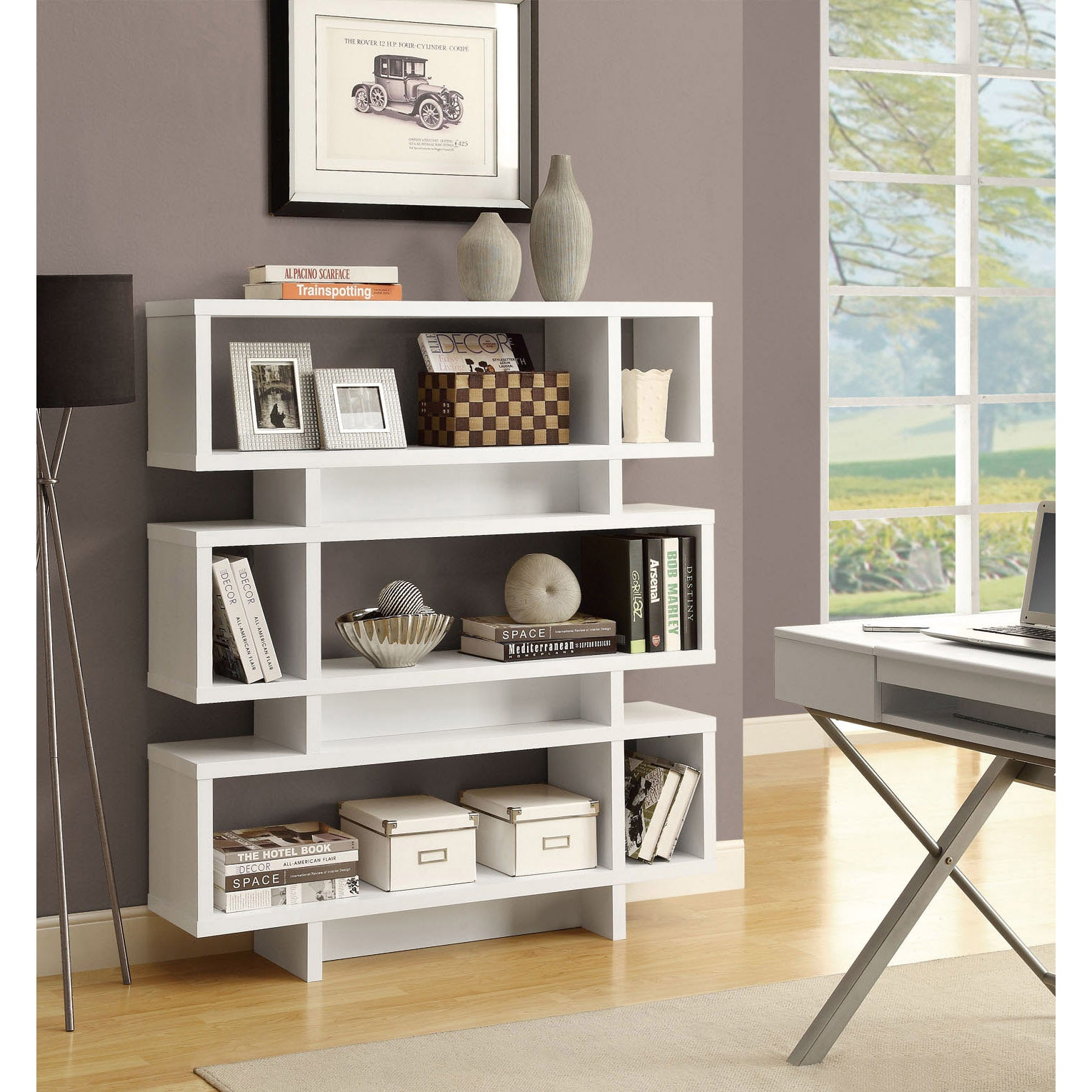 House Bookshelf: White 55-inch High Modern Bookcase