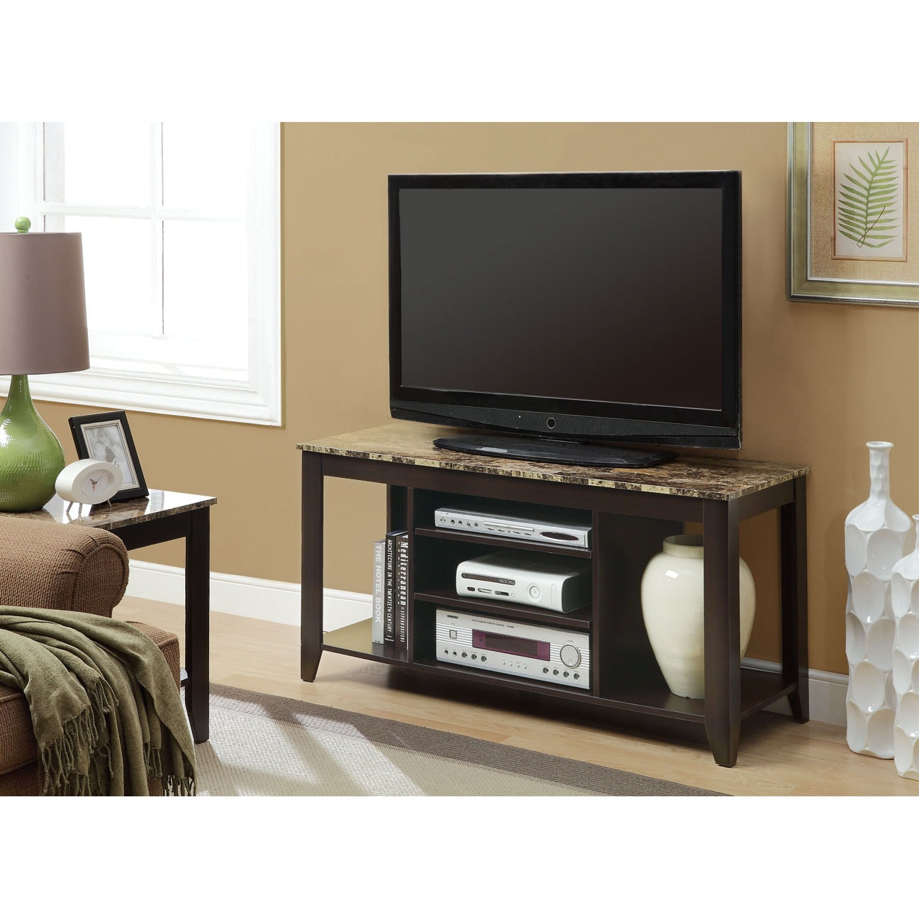 "Cappuccino / Marble Top 48""L TV Console - Thumbnail 0"